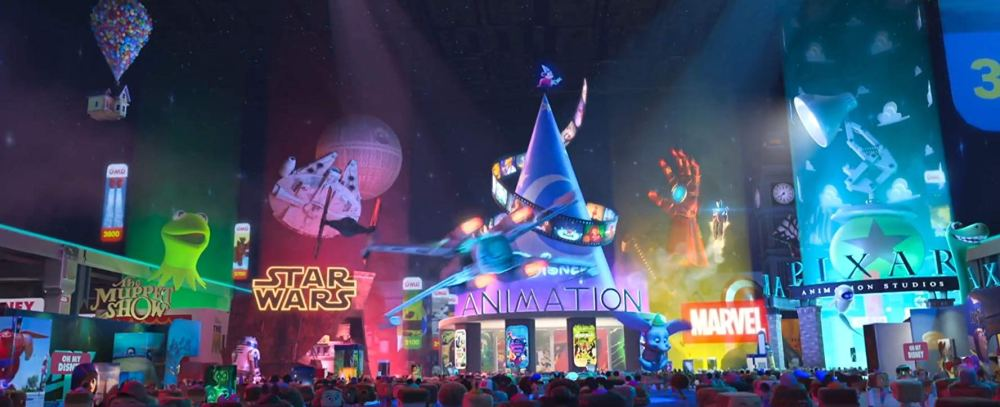 Movie still from Ralph Breaks The Internet showing Disney's ever growing empire.