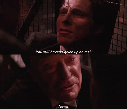 Image of Michael Caine and Christian Bale from Batman Begins.