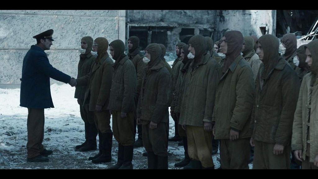 TV still from Chernobyl showing the 'bio-robots'