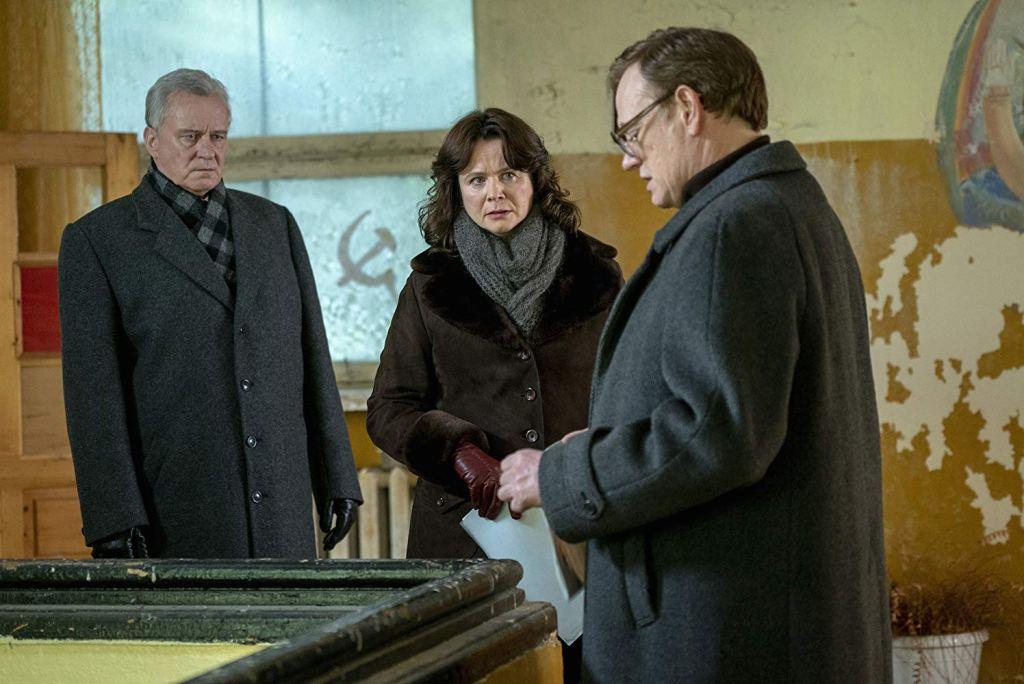 TV still from Chernobyl with Jared Harris, Stellan Skarsgard and Emily Watson.