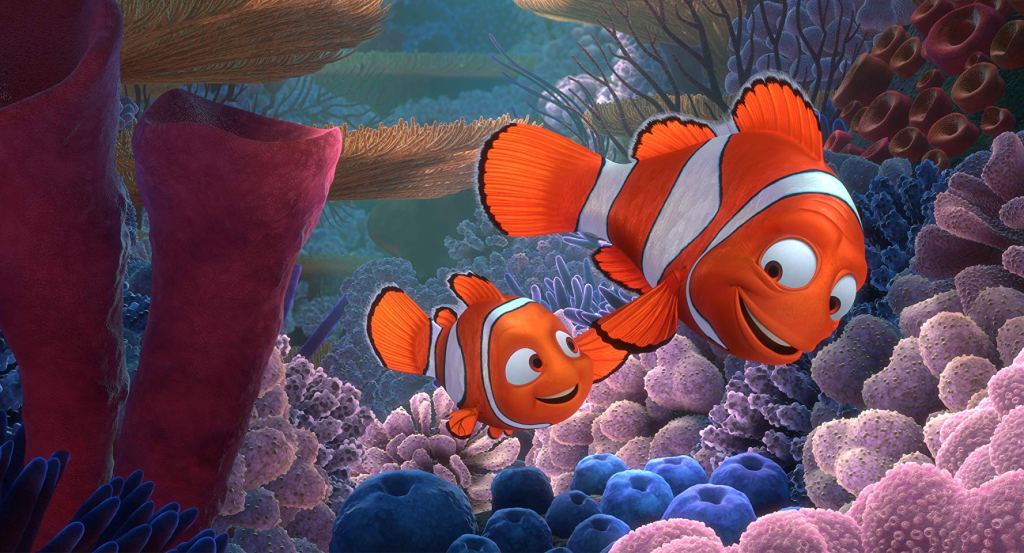 Still from movie Finding Nemo with Marlin and Nemo holding fins