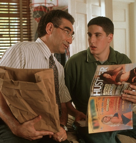 Still from the film American Pie, with actors Eugene Levy and Jason Biggs
