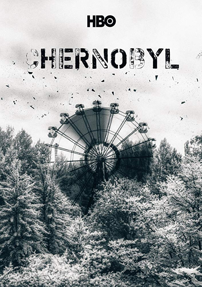 Black and white promotional poster for the TV series, Chernobyl.