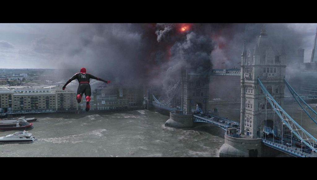 Movie still from Spider-Man: Far From Home showing Spider-Man heading towards Tower Bridge, London.