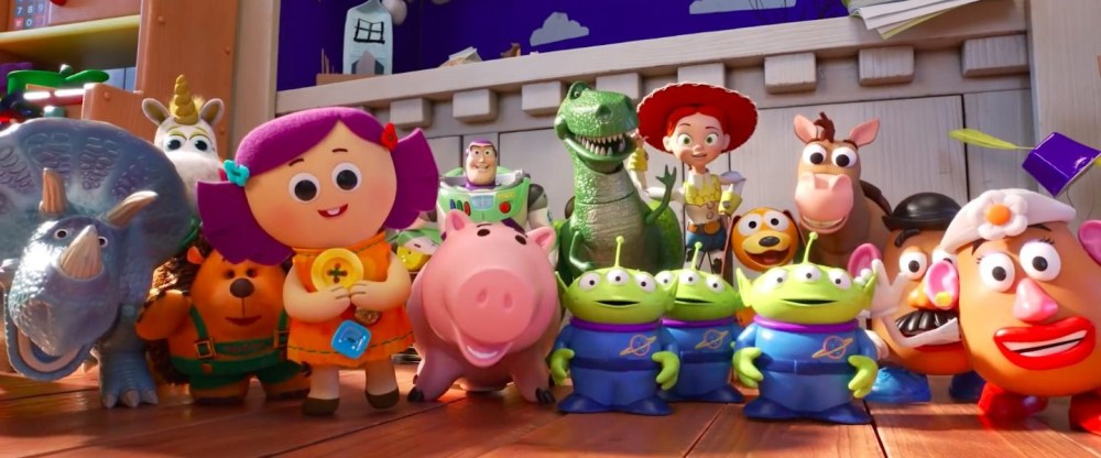 Movie still from Toy Story 4 showing all of Bonnie's toys.