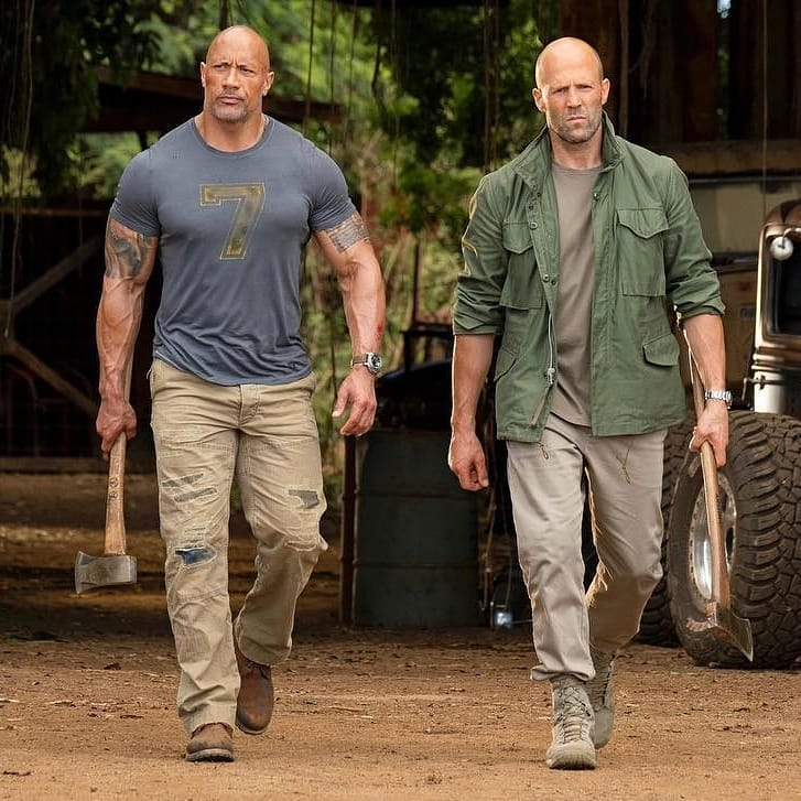 Dwayne Johnson and Jason Statham as Luke Hobbs and Deckard Shaw.