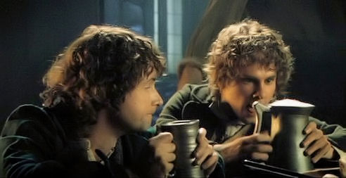 Merry and Pippin enjoying a pint in Lord of the Rings: The Fellowship of the Ring