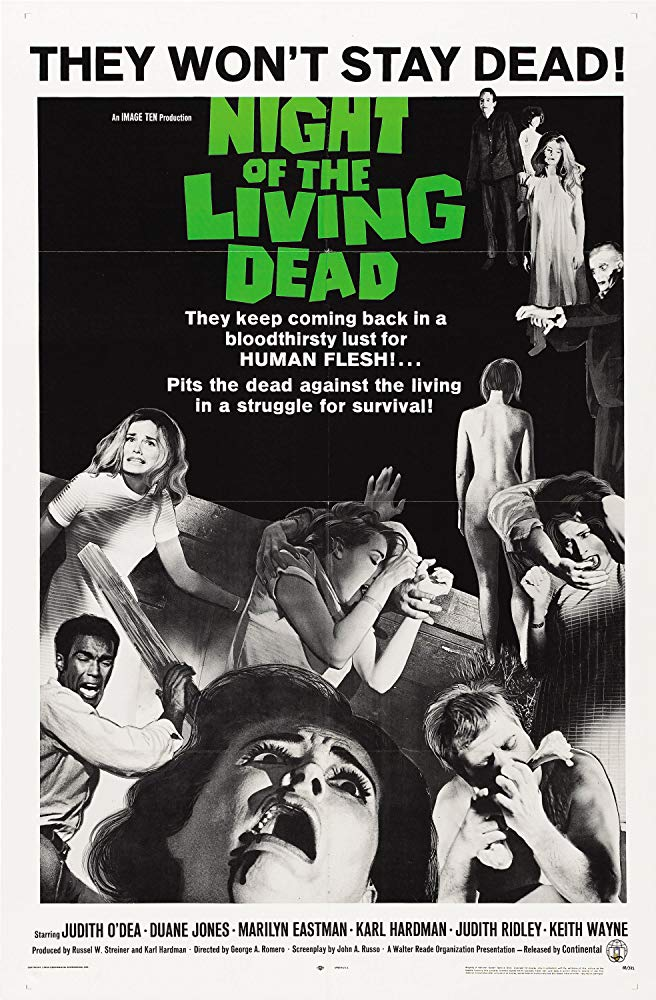 Movie poster for the 1968 film 'Night of the Living Dead' by George A. Romero