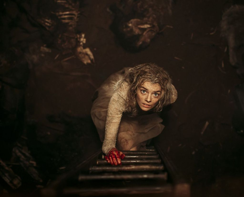 Aerial shot of Samara Weaving in 'Ready or Not' (2019)