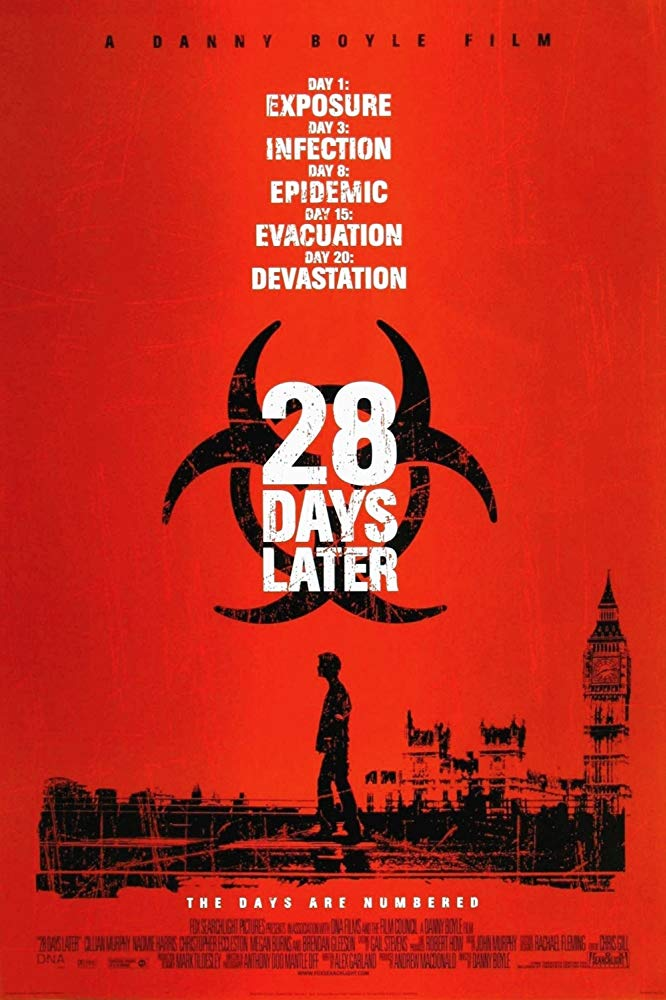 Movie poster for the 2002 film by Danny Boyle, '28 Days Later'.