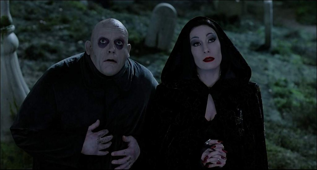 Christopher Lloyd and Anjelica Huston in the 1991 film 'The Addams Family'