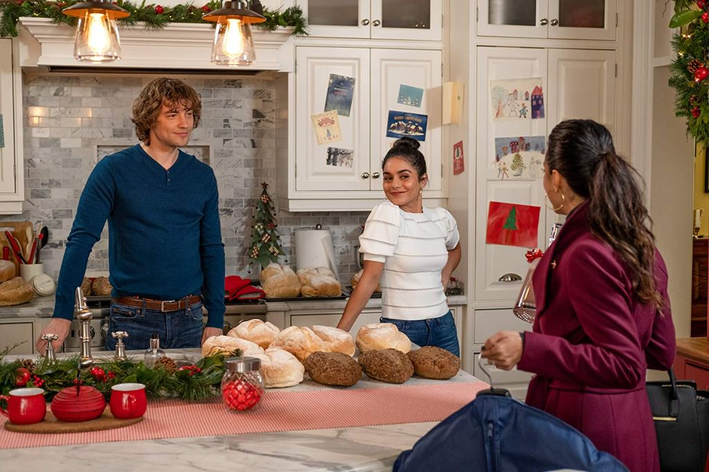 Josh Whitehouse, Vanessa Hudgens and Emmanuelle Chriqui in 'The Knight Before Christmas' (2019)