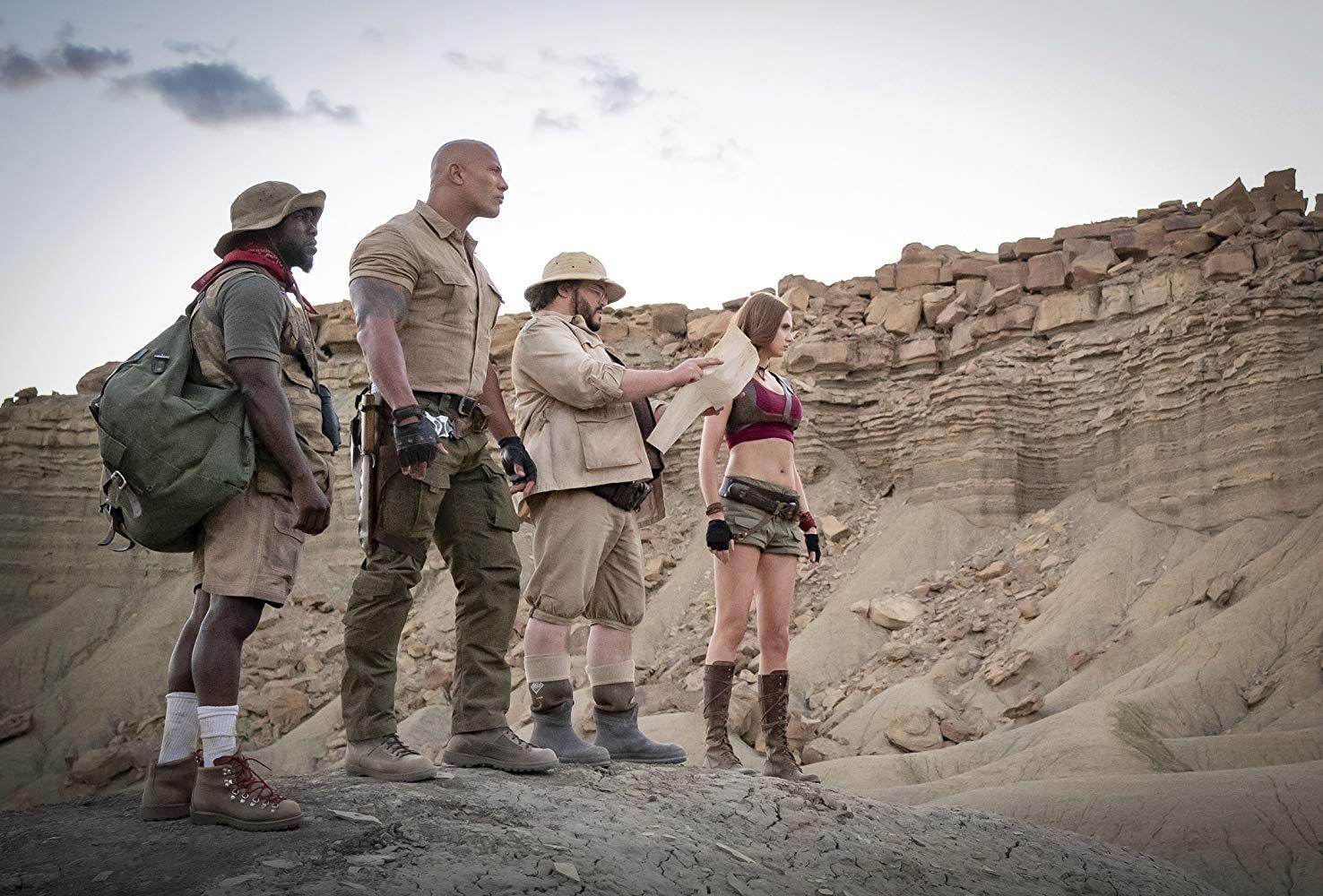 Kevin Hart, Dwayne Johnson, Jack Black and Karen Gillan in 'Jumanji: The Next Level' (2019)
