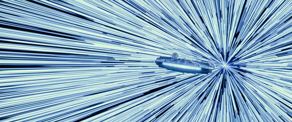The Millennium Falcon going into lightspeed